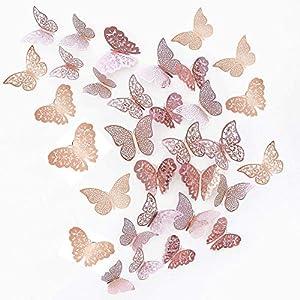 JUN-H 36 Stücke 3D Schmetterling Dekorationen Schmetterling Aufkleber DIY Wandkunst Aufkleber Schlafzimmer Baby Dekor Abziehbilder Abnehmbare Dekorative Papier Wandbilder (Rose Rot)