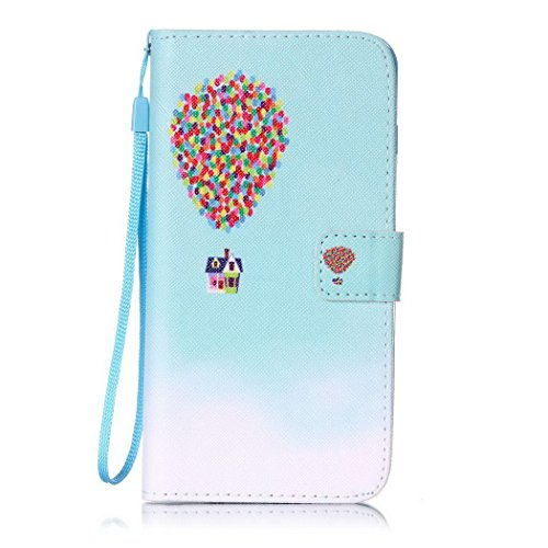 Ledowp Apple iPhone 7 Plus custodia portafoglio, copertura integrale design pattern custodia in similpelle di copertura con slot per schede per iPhone 7 Plus rosa Bowknot #2 Air Balloon