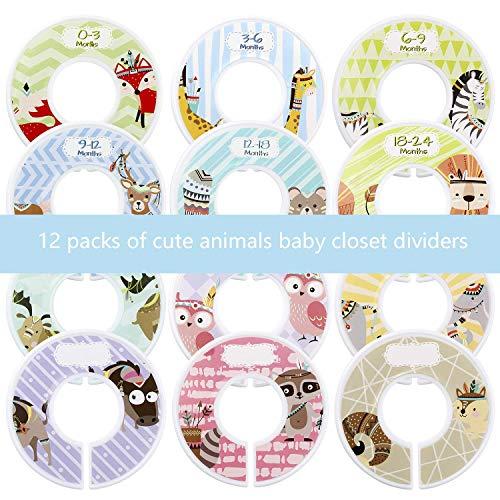 Afufu baby divisori per armadi, bimbo divisori armadio rotondi multicolore divisori di dimensioni con design animali, 12 nursery bimbi grucce divisori, ideale come regalo per bambini