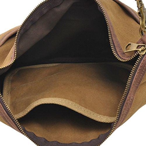 MissFox Uomini Borsa A Tracolla Retrò Canvas Bag Multifunzione Sacchetto Di Svago Caffè