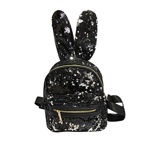 Longra Donna Moda sveglia, sacchetto di spalla dei sequins, coniglio femminile, grande orecchio, mini zaino Nero