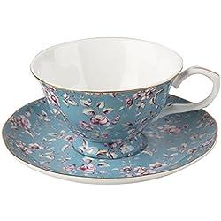 Katie Alice Ditsy Floral verde taza y platillo, Porcelana de ceniza de hueso, verde azulado, 6.5 x 15 x 15 cm