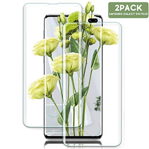Youer Galaxy S10 Plus Panzerglas Schutzfolie, [2 stück] Premium Gehärtetem Glas Displayschutzfolie für Samsung Galaxy S10 Plus, 9H Härte, Anti-Kratzer, Ultra-klar, Blasenfreie - Transparent