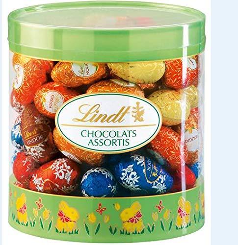 Lindt Schokoladen Eier Mix, 81 Eier in unterschiedlichen Sorten (Lindor, Cresta, Mousse au Chocolat und Nougat) im Köcher, 1440 g