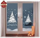 heekpek Noël Stickers Autocollants de Noel Stickers Fenetre Noël Décoration DIY Renne Père Noël Autocollants Flocons de Neige Autocollant Amovibles Statique Autocollants