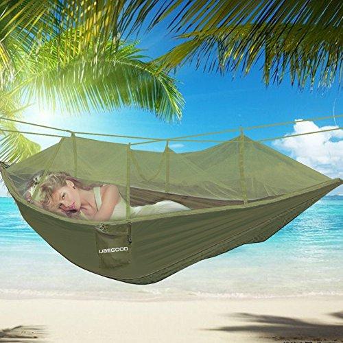 Hängematte , Ubegood [Belastung 200KG] Tragbaren Parachute Hängematte mit Moskitonetz [260 x130 cm] für Outdoor  Camping  Reisen (ArmeeGrün)