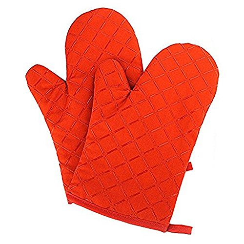 YOBOKO Cotton Heat Resistant Silicone Surface Microwave Oven Gloves Pot Holder Kitchen Accessories 1 Pair (Orange) Mitt Pot Holder