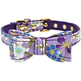 Saingace Dog Collars For Small Dogs, Cute Pet Dog Puppy Cat Adjustable Printed Bowknot Collars Fancy Dog Necklace...