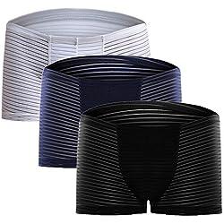 Ropa Interior Transpirable Pack de 3 Bóxer 3 Piezas Calzoncillos a Rayas Elástico Slips Transparente Bolsa U Convexa Cómodo Sexy para Hombre Multicolor (Negro+Azul+Blanco, L 66cm)