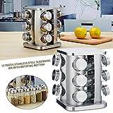 Contenitore di stoccaggio da Cucina Contenitore in Acciaio Inossidabile da 12 pz Contenitore con Supporto Girevole per condimento Spezie Pepper & Salt