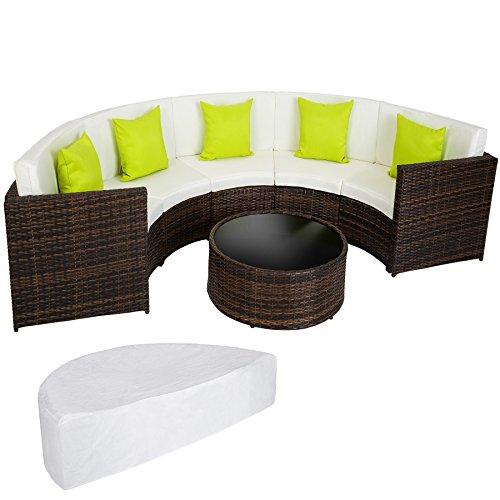 opiniones tectake poliratan aluminio conjunto tresillo muebles de ratan para jardin sofa curvado mixedbrown proteccion contra lluvia almohadas