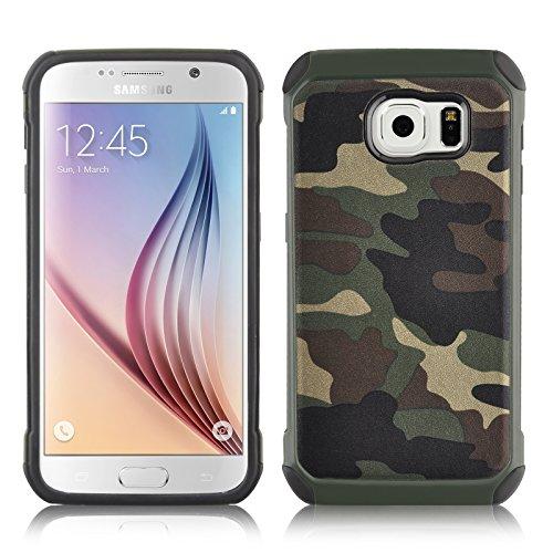 JAMMYLIZARD Camouflage Hülle für Samsung Galaxy S7 | Outdoor-Schutzhülle [Army HD] Military Case aus Silikon & Leder mit Tarnmuster, Grün