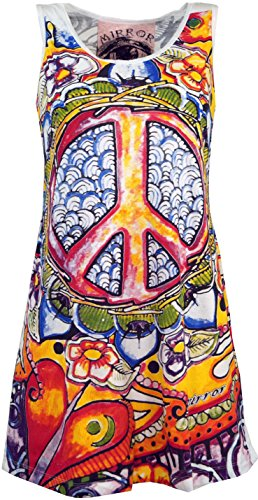 Guru-Shop Mirror Tank Top, Longshirt, Minikleid, Damen, Peace/Weiß, Baumwolle, Size:S (36), Bedrucktes Shirt Alternative Bekleidung -