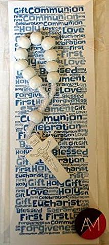 Boys First Communion Bookmark & White Single Decade Rosary Set