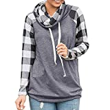 KUDICO Damen Lässiges Sweatshirt Langes Ärmel Turtleneck Tops Plaid Tunic Shirts Pullover Bluse (Grau, EU-44/CN-2XL)