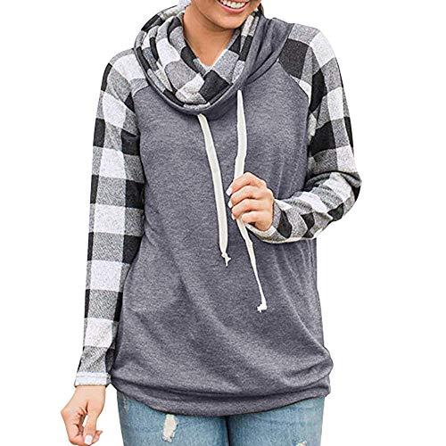 Mantel Herbst Winter Damen Plaid Print Pile Kragen Langarm Sweatshirt Sweatshirt Steppjacke Kapuzenjacke Hoodie Pullover Outwear Coats Tops Mode 2019 (Grau, S) ()