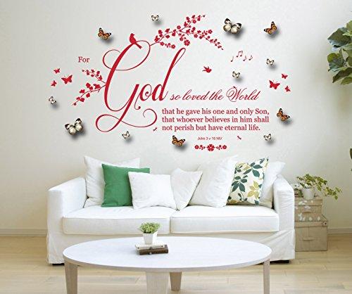 John 3 v 16, NIV christliche Bibel zitieren, Vinyl Wandkunst Aufkleber, Wandbild, Aufkleber mit 3D grau/weiß & orange Schmetterlinge. Zuhause, Kirche, Schule Dekor