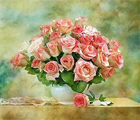 YEESAM Art nouveau 5d Diamant Peinture kit–Fleur Rose paniers 30* 35–DIY Cristaux Diamant De Strass Peinture Collez-le Peinture par numéro Kits point de croix à broder
