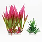 sourcingmap Traubenblätter Aquarium Gras Aloe Dekoration, Grün/Hot Pink, 2Stück