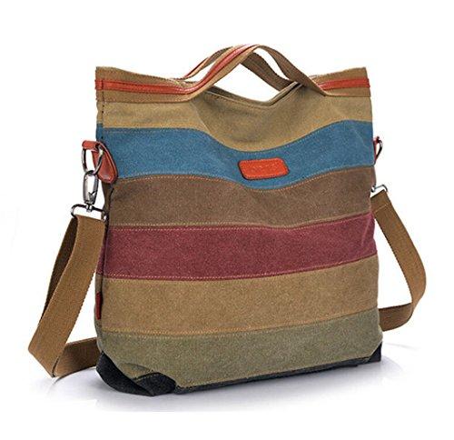 Tiny-COLOR BLOCK-Leinwand Umhängetasche Leder Damen Handtasche gestreift Large Kapazität Tote für Reisen, Mehrfarbig - Stripes A - Größe: (Tote Double Zip)