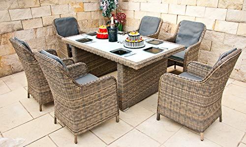 RAGNARÖK PolyRattan - DEUTSCHE Marke - EIGENE Produktion - 8 Jahre GARANTIE auf UV-Beständigkeit - Gartenmöbel Essgruppe Tisch 6 Sessel 12 Polster...