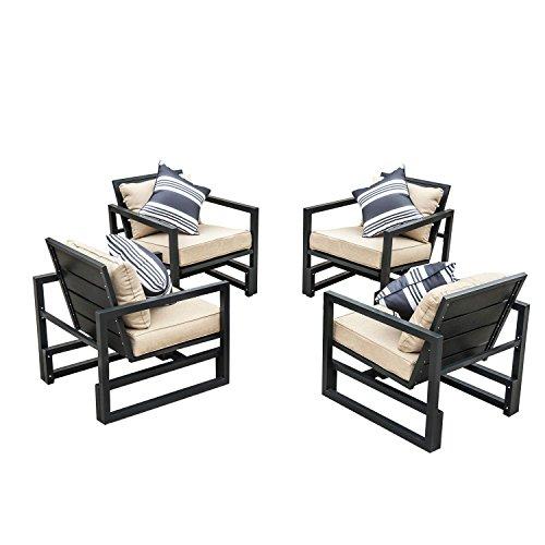 Outsunny Gartenmöbel 4 x Aluminium Sessel Sitzgarnitur Loungesessel Aluminiumminium Relax Non-Wood Stuhl mit Kissen WPC, schwarz