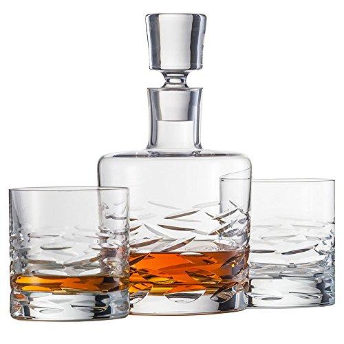 Schott Zwiesel 120147 Basic Bar Surfing Whisky Set Bestehend aus 1 Karaffe und 2 Double Old Fashioned Gläsern Whisky Set, Kristall, Farblos, 22.5 x 13.0 x 23.0 cm