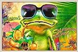 Poster mit Rahmen 61 x 91,5 cm, Natur - Cooler Frosch mit Sonnenbrille gerahmt - Antireflex Acrylglas