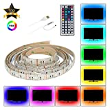 USB LED-Lichtstreifen, RGB LED-Strip-Leuchten TV Backlight Strip 2m/6.6ft 5050 Flexible LED-Streifen mit IR-Remote, wasserdichter LED-Lichtstreifen für TV-LCD, Desktop PC/Laptop-Hintergrundbeleuchtung