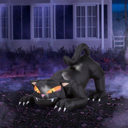 Gemmy Luftgeblasene Halloween-Katze mit drehbarem Kopf, 1,8 m -