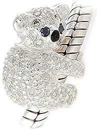 Cuenta, diseño de koala con cristales incrustados–Plata de ley 925–Compatible con Pandora, Biagi & troll, etc.