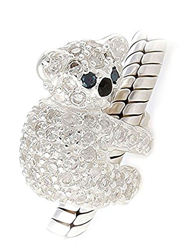 Oso de koala cuenta para pulsera–auténtica 925plata de ley–cristales de color blanco