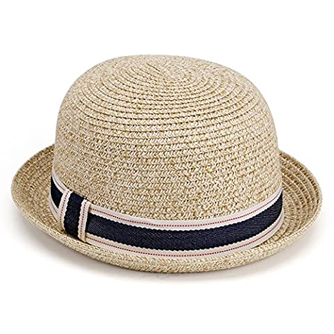 JOOWEN Unisex Couples Straw Bowler Hat Round Top Hollow Out Vintage Summer Hat (Natural)