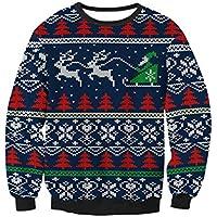 Suéter de Las Mujeres árbol de Navidad Ocasional Patrón de Trineo Suéter de Cuello Redondo Jersey de Manga Larga Jersey Tops