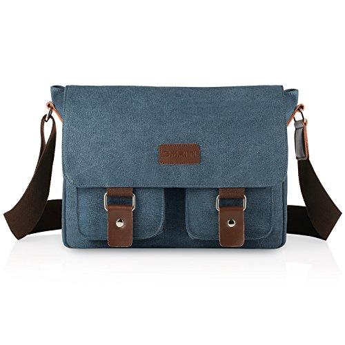 93f161db9ce39 SMRITI 14 Zoll Canvas Umhängetasche Schultertaschen Laptop Messenger Tasche  für Schule Schwarz Blau