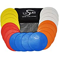 Lusum Set of 20 Pro Non Slip Flat Rubber Round Sports Marker Discs