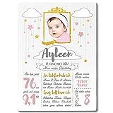 FANS & Friends Meilenstein Tafel aus Holz | Din A4 | Personalisiert mit Foto, Namen & Daten | 1. Geburtstag | Baby, Kleinkind (Rosa)