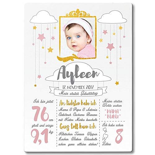 FANS & Friends Holz Meilensteintafel 1. Geburtstag Junge & Mädchen | DIN A4 | personalisiert mit Foto, Namen, Daten | 1. Geburtstag Geschenk Baby Daten (Rosa)