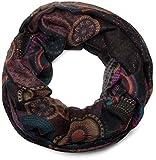 styleBREAKER glitzernder Ethno Design Loop Schlauchschal mit bunten Kreisen, Punkten und Glitzer, Damen 01018085, Farbe:Schwarz-Violett-Petrol