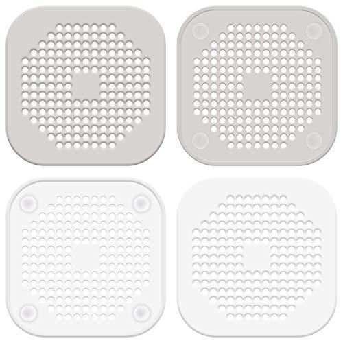 LUTER 4 Stück Abflusssieb Silikon, Dusche Abfluss Sieb Duschablauf Abdeckungen Waschbecken Sieb Haarfänger für Bad Badewanne Küche(Weiß, Grau)