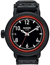 Nixon Unisex-Armbanduhr The October All Black / Red Analog Quarz Kautschuk A488760-00