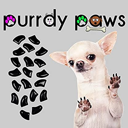 Purrdy Paws 40-Pack Soft Nail Caps For Dog Claws BLACK * X-SMALL Brand 1