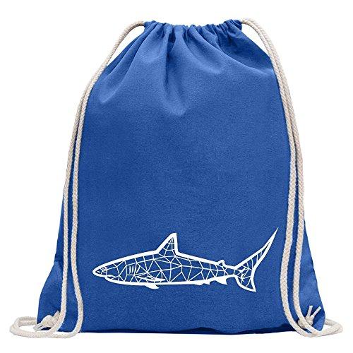 Kiwistar Polygon Haifisch Figur Tier Art Turnbeutel Fun Rucksack Sport Beutel Gymsack Baumwolle mit Ziehgurt -