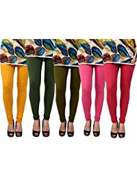 Anekaant Pack Of 5 Cotton Lycra Free Size Women's Legging -Gold, Dark Green, Green, Pink, Maroon