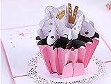 Handgemachte 3D Pop-up-Karte rosa Tasse Kuchen Geburtstag Muttertag Vatertag Hochzeitstag Verlobungsfeier Baby Dusche Geburt Ostern Thanksgiving Weihnachtskarte Geschenk für sie ihn Freund Familie