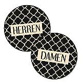 Set: 2 Stück WC-Schild Toiletten-Schild Klo-Schild in modernem beige schwarz Vintage Muster Look für Frauen und Männer; rund 15 cm Durchmesser inkl. Klebepunkte, Aluminiumverbundplatte … Türschild