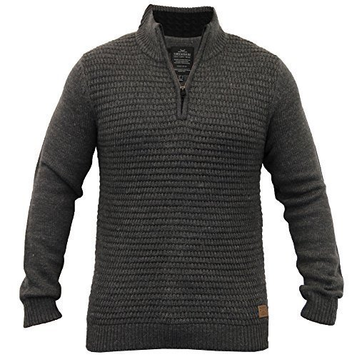 Herren Wollmischung Pullover Threadbare Kabel Strickpulli Waffel Reißverschluss Winter Neu Dunkelgrau - IMV037PKA