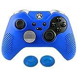 eXtremeRate Xbox One Elite Controller Hülle Tasche Schutzhülle Silikon Case, mit 2 Analog Sticks Thumbstick Kappen für Microsoft Xbox One Elite Controller - Blau