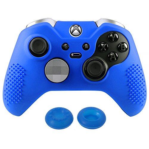 Preisvergleich Produktbild eXtremeRate Xbox One Elite Controller Hülle Tasche Schutzhülle Silikon Case,  mit 2 Analog Sticks Thumbstick Kappen für Microsoft Xbox One Elite Controller - Blau