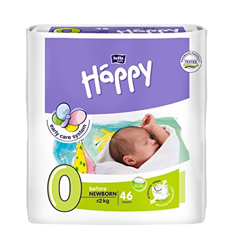 Bella Baby Happy Windeln groß 0 - Before Newborn < 2 kg, 1er Pack (1 x 46 Stück)